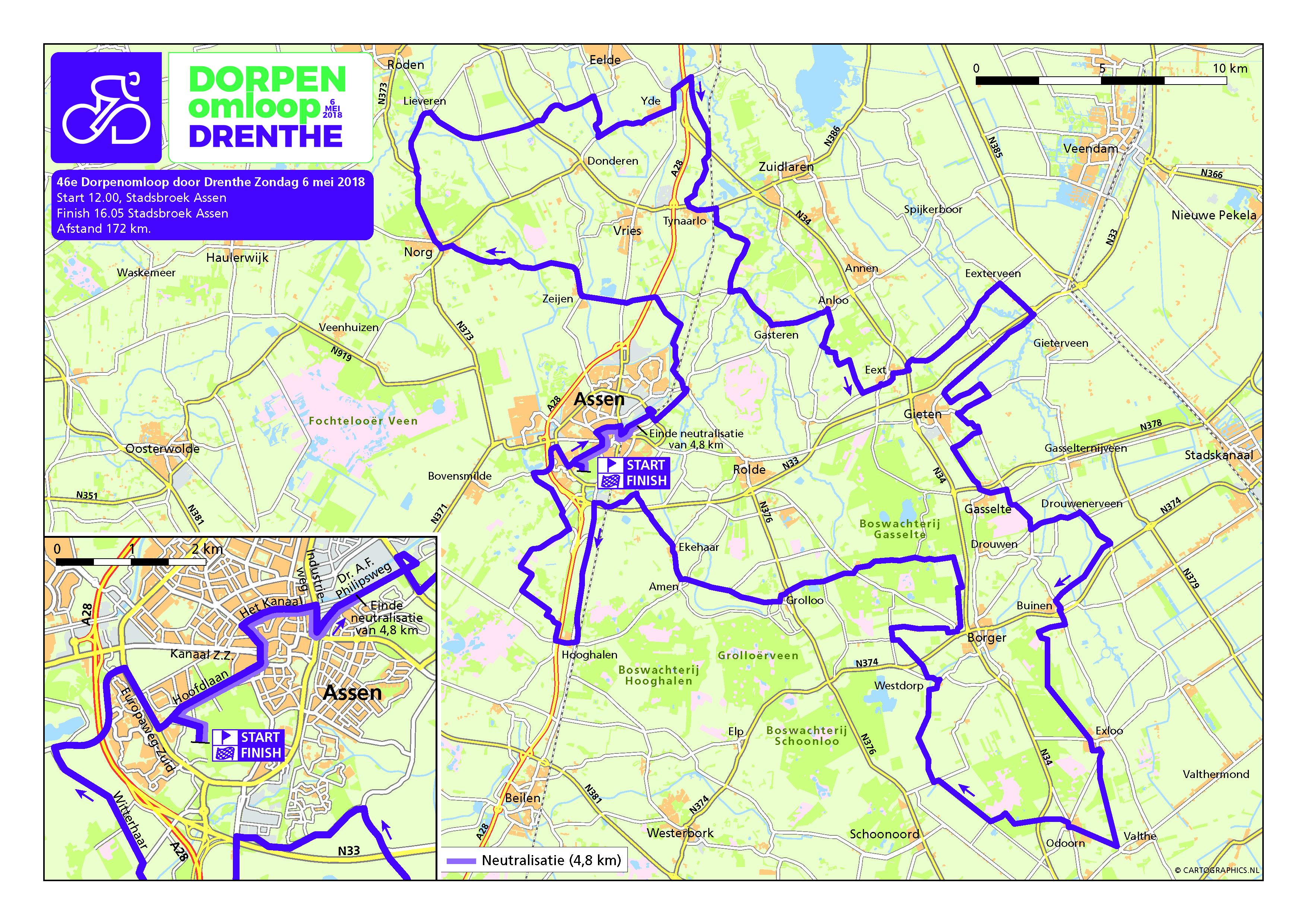 Routekaart Dorpenomloop Drenthe 2018